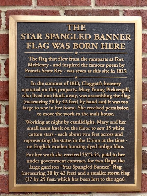 The Star Spangled Banner Flag was Born Here Marker image. Click for full size.