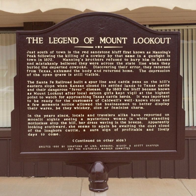 The Legend of Mount Lookout Marker image. Click for full size.