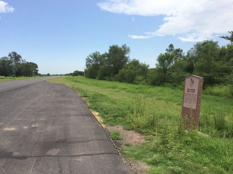 View of Marker looking south towards Braman and I-35. image. Click for full size.