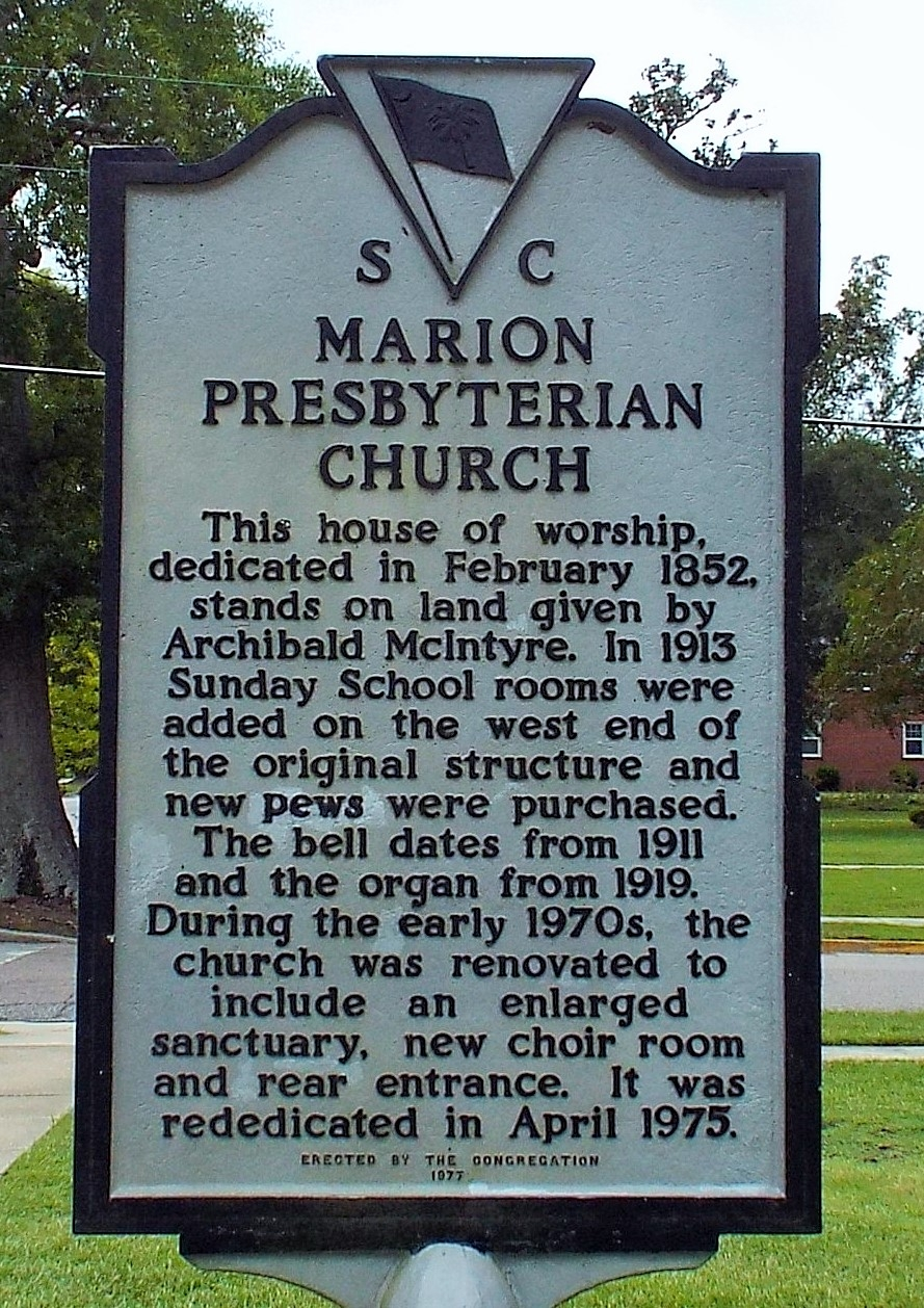 Marion Presbyterian Church Marker (Reverse Side)