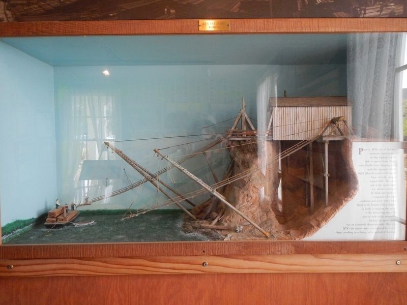 Diorama of lumber loading on the Mendocino Coast. image. Click for full size.