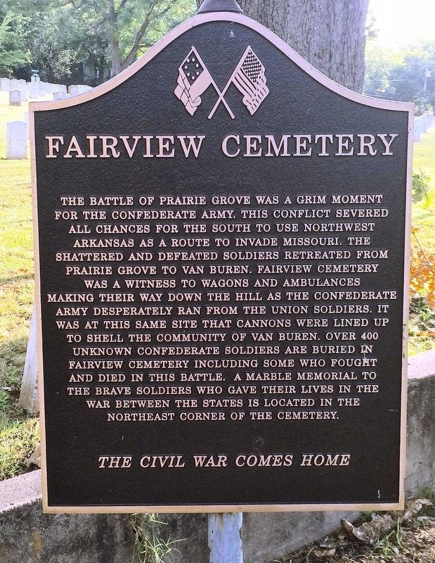 Fairview Cemetery marker notes the Confederate graves. image. Click for full size.