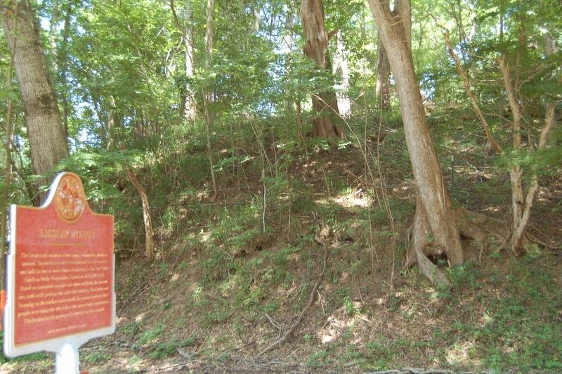 Lessley Mound Marker and Mound shown. image. Click for full size.