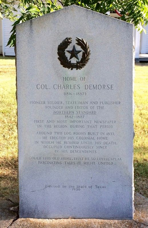 Home of Col. Charles DeMorse Marker image. Click for full size.