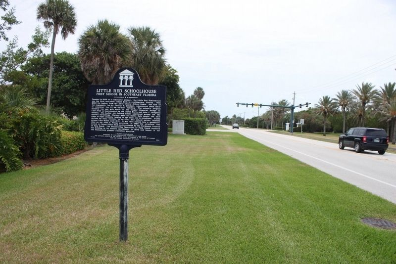 Little Red Schoolhouse Marker looking south on FL A1A image. Click for full size.
