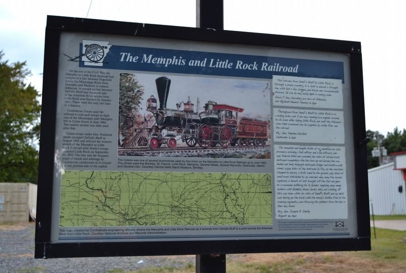 The Memphis and Little Rock Railroad Marker image. Click for full size.