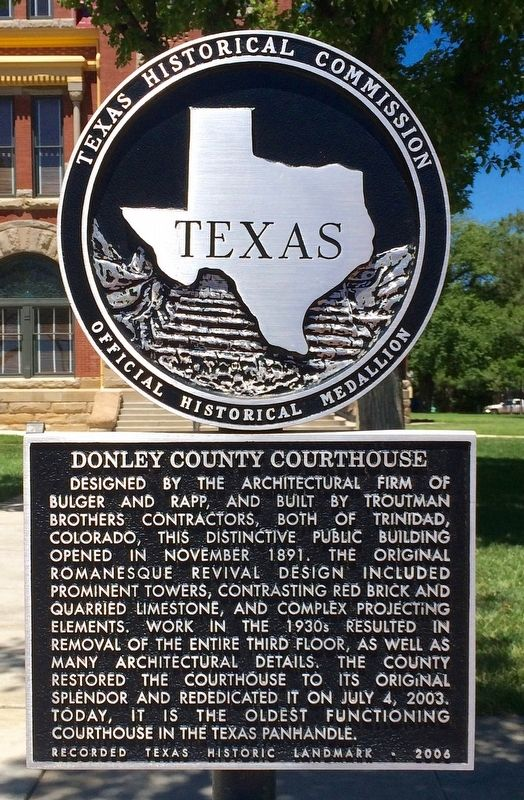 Donley County Courthouse Marker image. Click for full size.