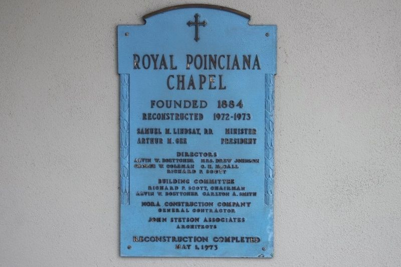 Royal Poinciana Chapel dedication plaque image. Click for full size.