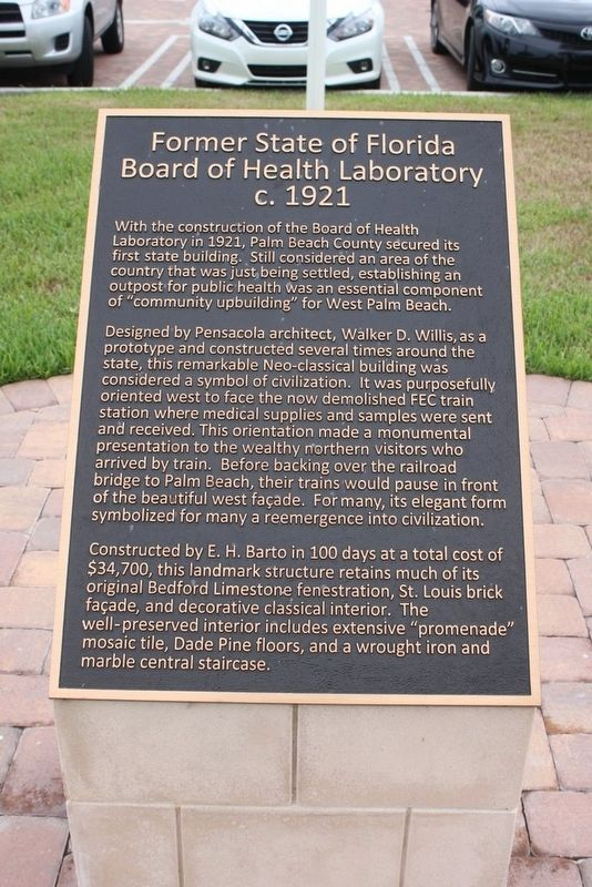 Former State of Florida Board of Health Laboratory c.1921 Marker image. Click for full size.