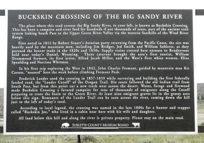 Buckskin Crossing of the Big Sandy River Marker image. Click for full size.