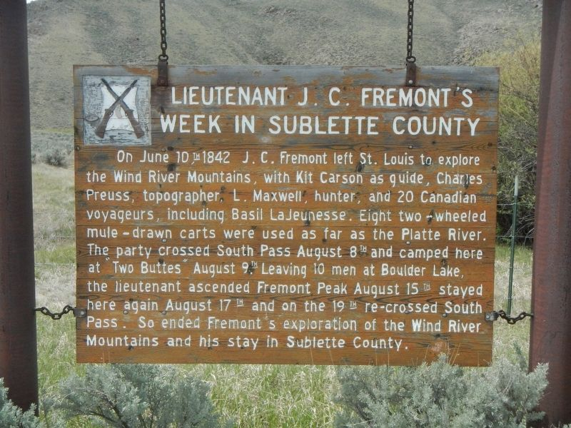 Lieutenant J.C. Fremont's Week in Sublette County Marker image. Click for full size.