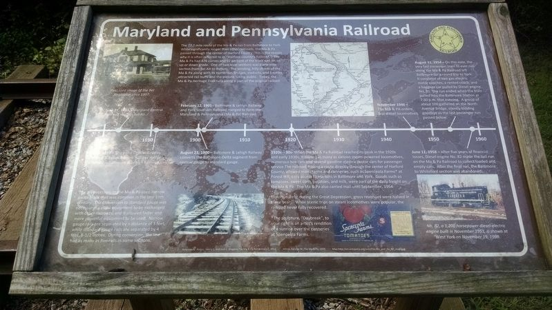 Maryland and Pennsylvania Railroad Marker image. Click for full size.