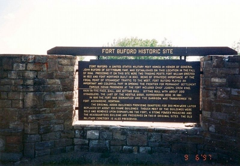 Fort Buford Historic Site Marker image. Click for full size.