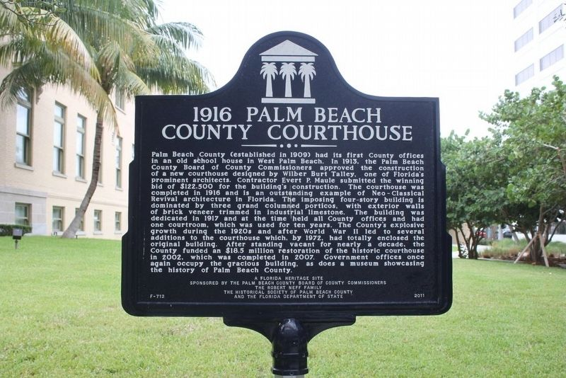 1916 Palm Beach County Courthouse Marker image. Click for full size.