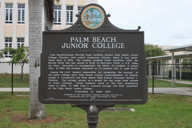 Palm Beach Junior College Marker image. Click for full size.