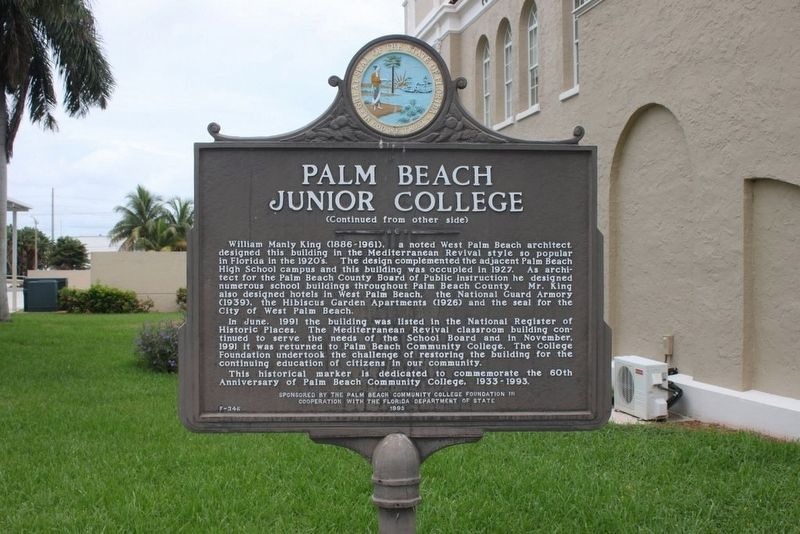 Palm Beach Junior College Marker reverse image. Click for full size.