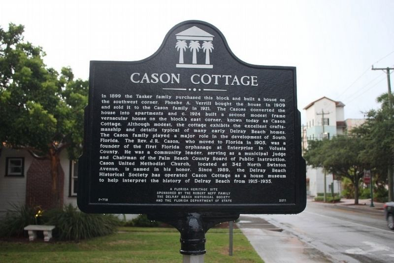Cason Cottage Marker with cottage in background image. Click for full size.
