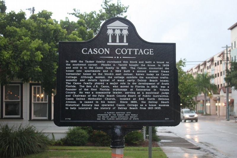 Cason Cottage in background with marker image. Click for full size.