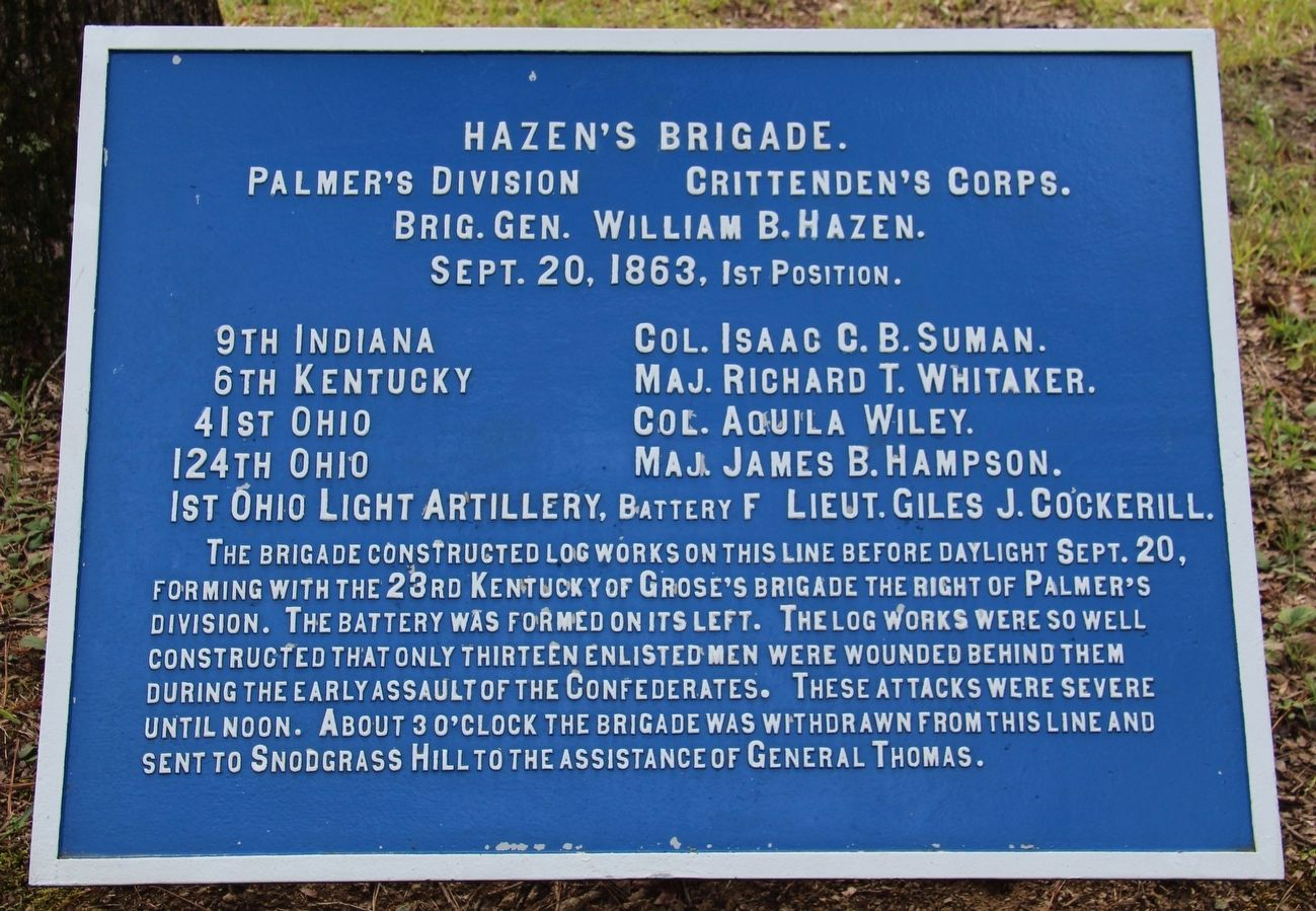 Hazen's Brigade Marker image. Click for full size.