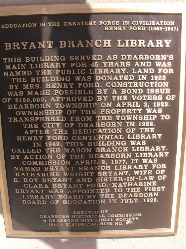 Bryant Branch Library Marker image. Click for full size.