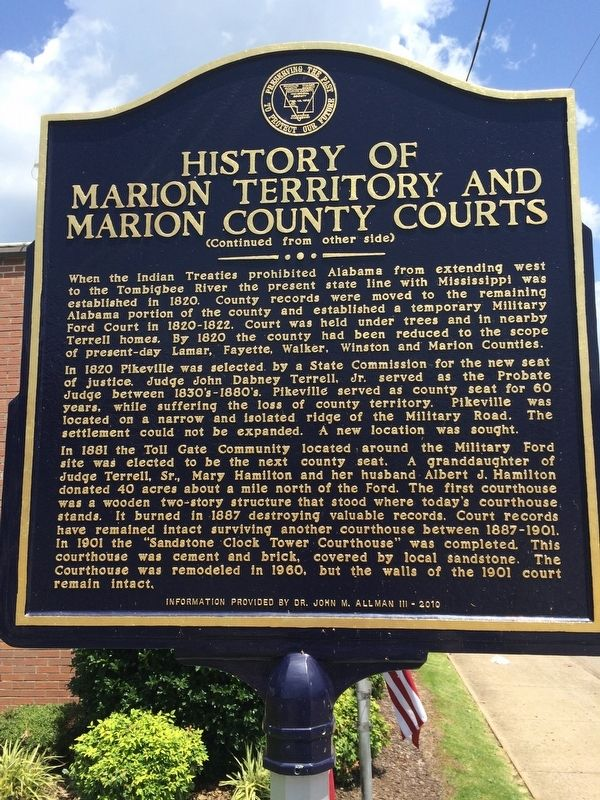 History of Marion Territory and Marion County Courts Marker (Rear) image. Click for full size.