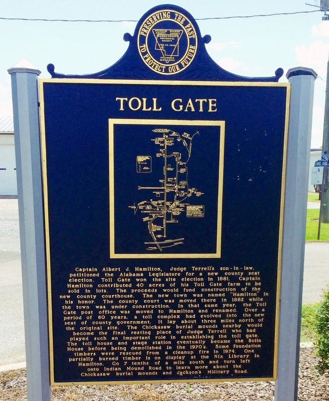 Toll Gate Marker - with map (Side 1) image. Click for full size.