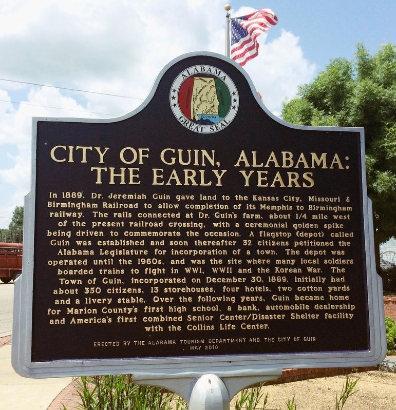 City of Guin Alabama: The Early Years Marker. image. Click for full size.