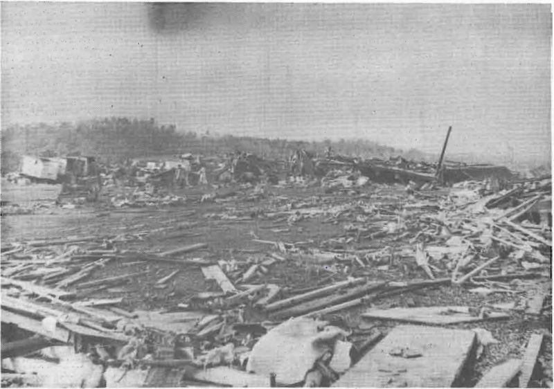 Remains of the Guin Mobile Home plant after an F5 tornado in 1974. image. Click for full size.