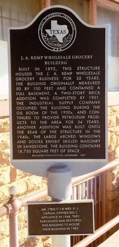 J. A. Kemp Wholesale Grocery Building Marker image. Click for full size.