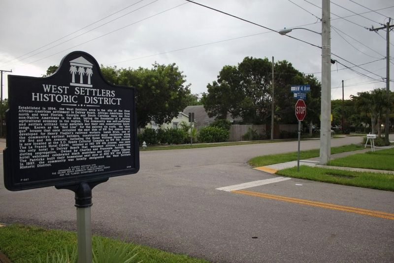 West Settlers Historic District Marker at intersection image. Click for full size.