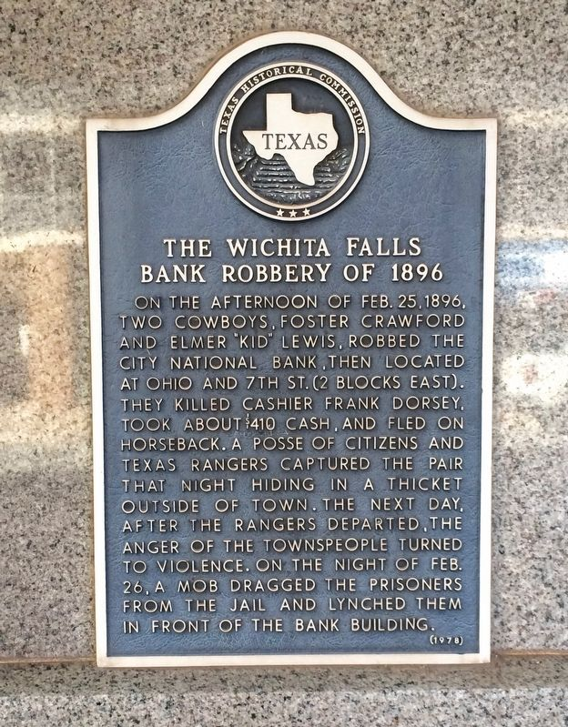 The Wichita Falls Bank Robbery of 1896 Marker image. Click for full size.