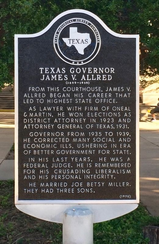 Texas Governor James V. Allred Marker image. Click for full size.