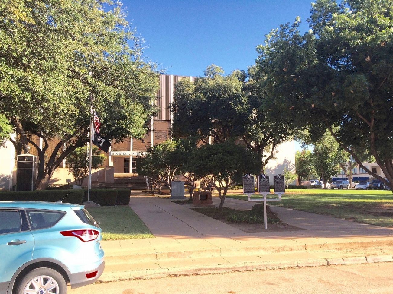 Located in front of the Wichita County Courthouse (right side of three markers). image. Click for full size.