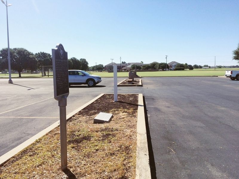 Red River Valley Museum Marker in median of parking lot. image. Click for full size.