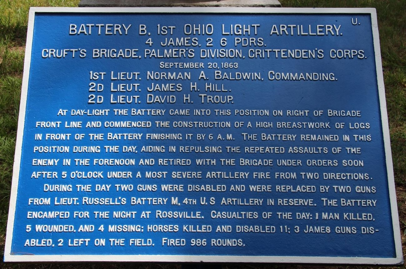 Battery B, 1st Ohio Light Artillery Marker image. Click for full size.