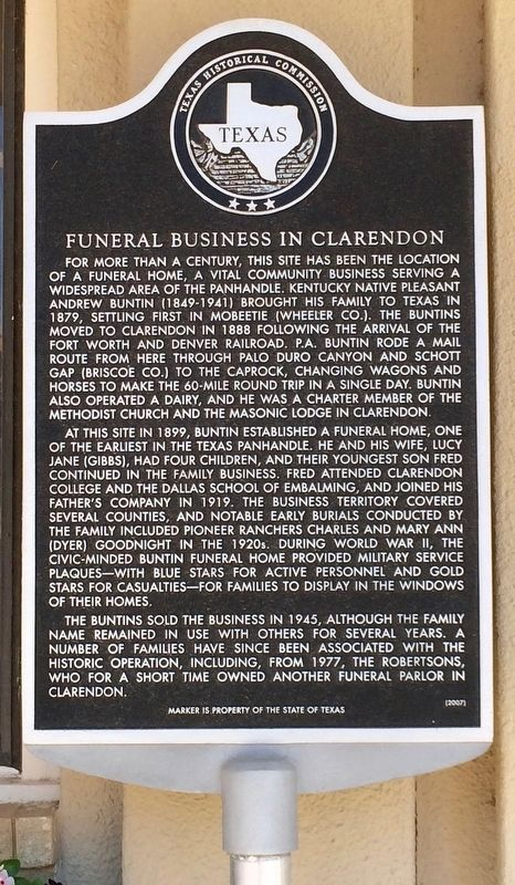 Funeral Business in Clarendon Marker image. Click for full size.