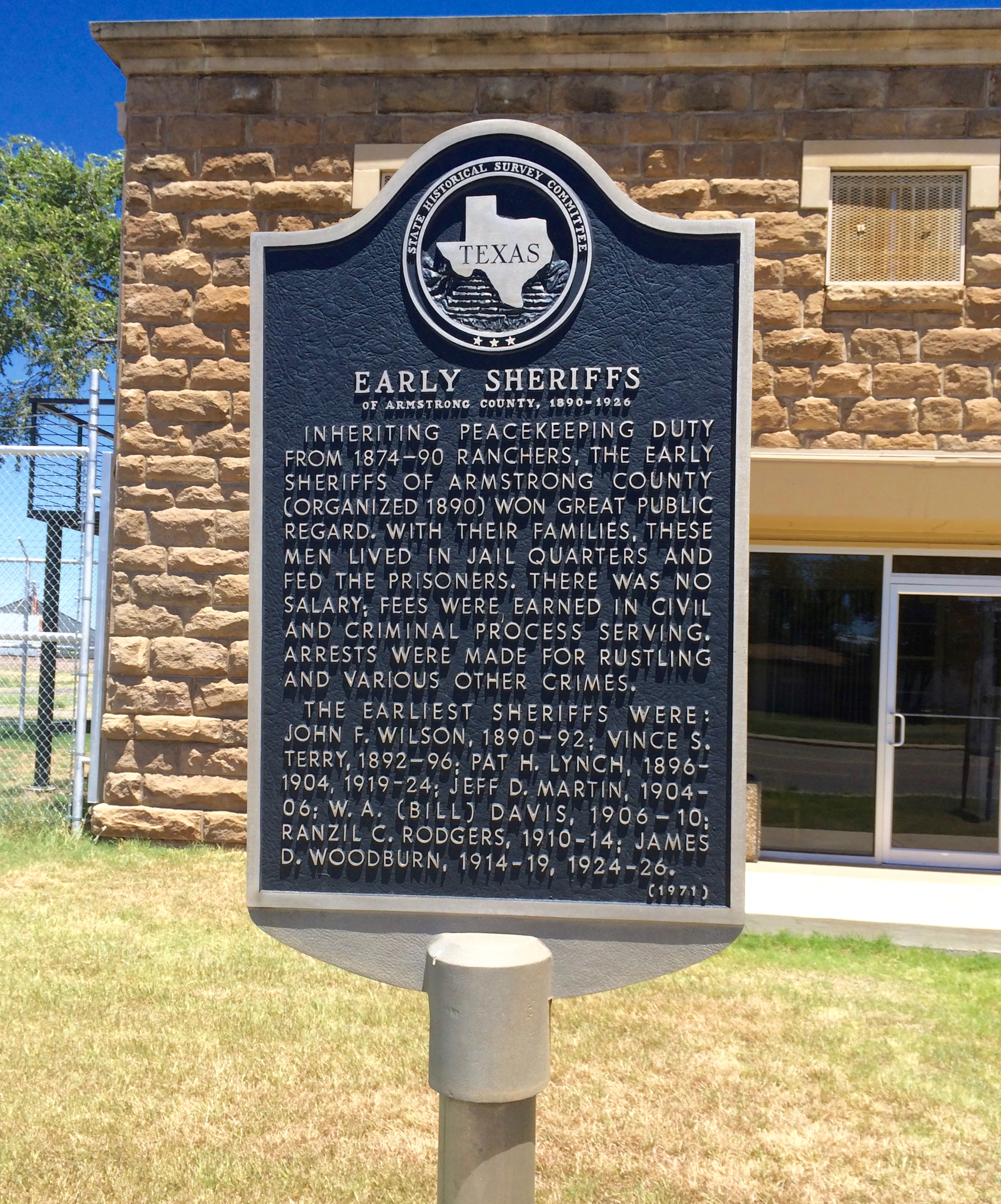 Early Sheriffs of Armstrong County Marker