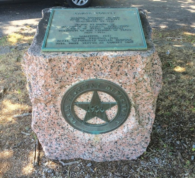 Lamar County Marker - Pink Granite 1936 Centennial Monument. image. Click for full size.