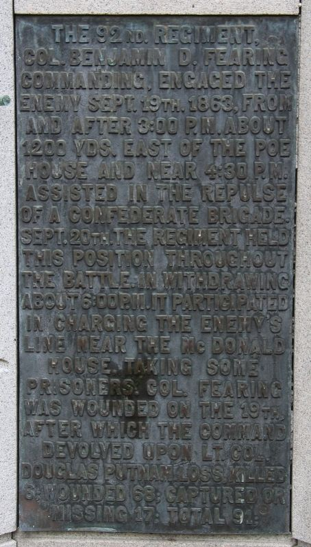 92nd Ohio Infantry Marker image. Click for full size.