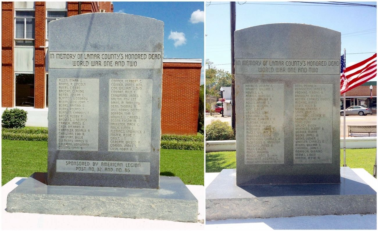 Lamar County WWI & WWII Memorial Marker image. Click for full size.