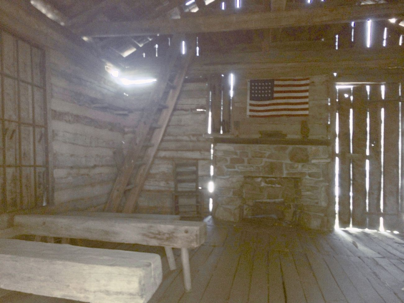 View inside the one room schoolhouse. image. Click for full size.