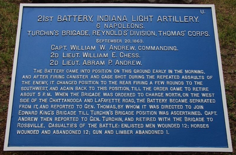 21st Battery, Indiana Light Artillery Marker image. Click for full size.