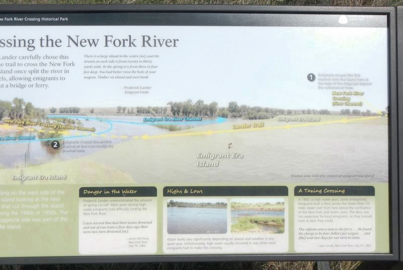 Crossing the New Fork River Marker image. Click for full size.