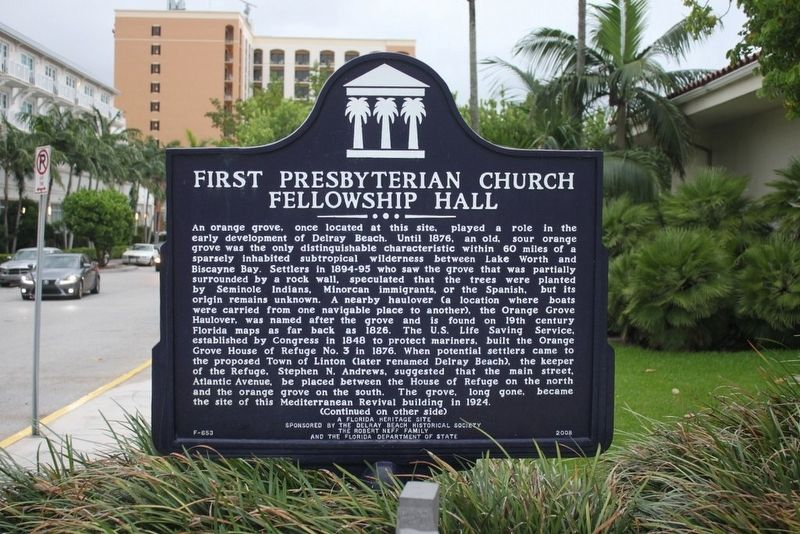 First Presbyterian Church Fellowship Hall Marker image. Click for full size.
