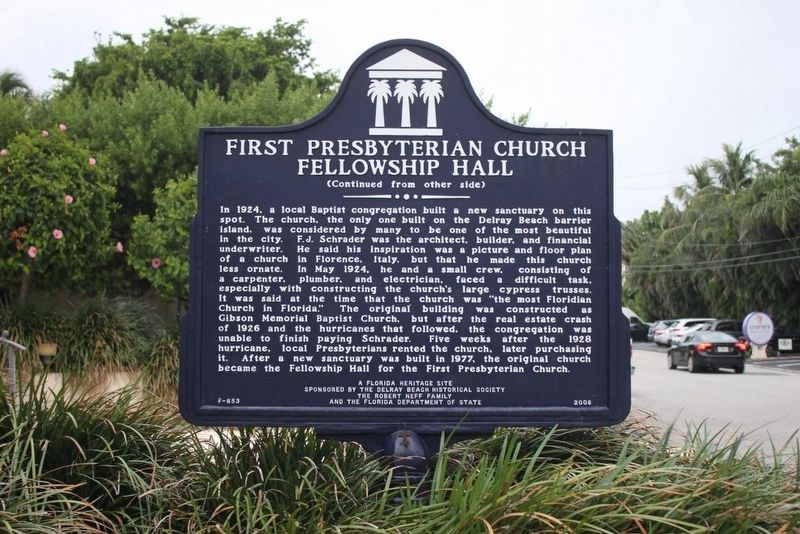 First Presbyterian Church Fellowship Hall Marker reverse image. Click for full size.