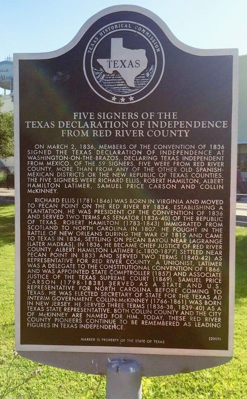 Five Signers of the Texas Declaration of Independence from Red River County Marker image. Click for full size.