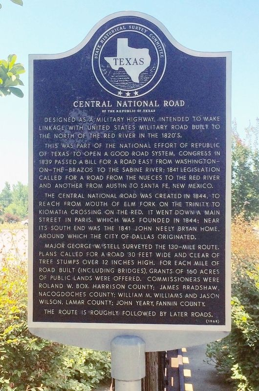Central National Road of the Republic of Texas Marker image. Click for full size.