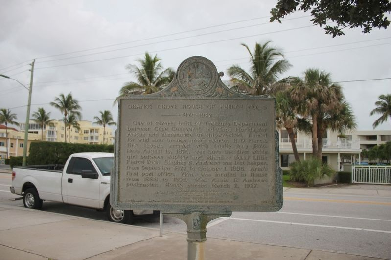 Orange Grove House of Refuge No. 3 Marker with Berkshire-By-the-Sea and FL A1A in the background. image. Click for full size.