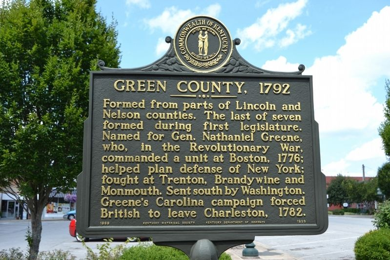 Green County, 1792 Marker image. Click for full size.