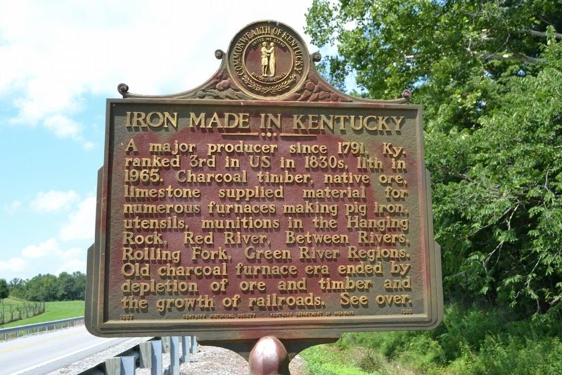 Iron in Green County / Iron Made in Kentucky Marker image. Click for full size.